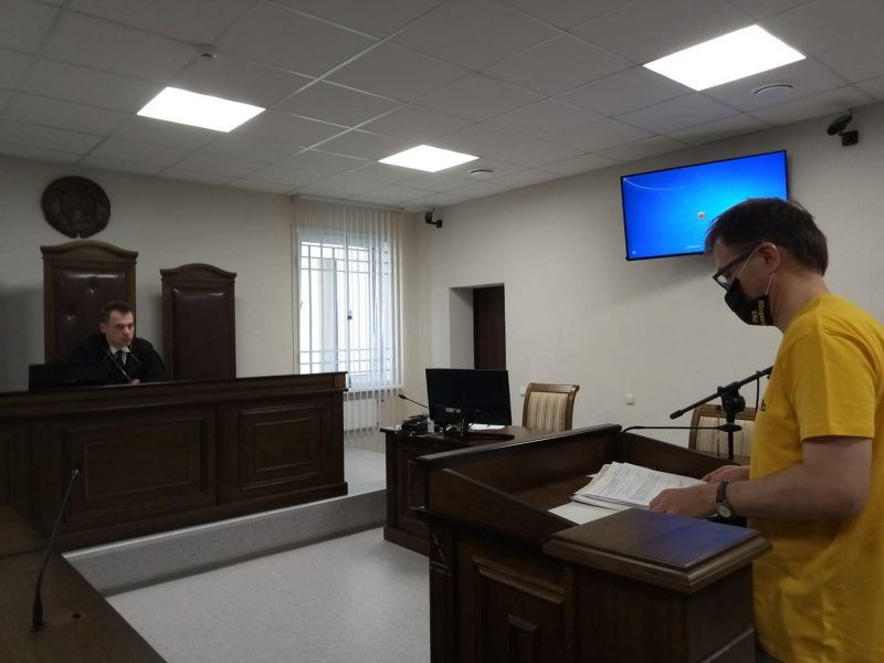 Human rights activist Raman Kisliak stands trial in Brest. May 26, 2020