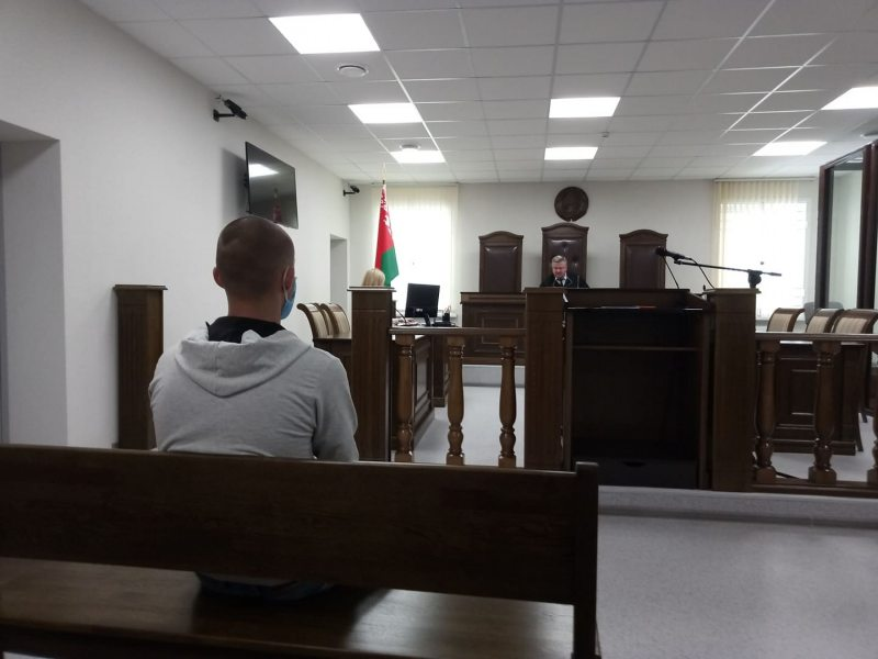 Раман Пушкін на судзе 16 ліпеня. Фота: Берасцейская Вясна