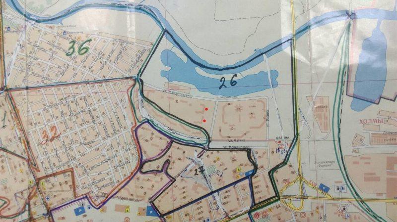 Мапа Фацінскай выбарчай акругі №26 у Магілёве