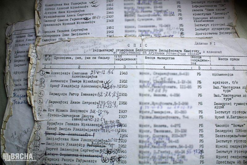 Першы спіс ініцыятыўнай групы стваральнікаў БХК. З архіва Таццяны Процькі