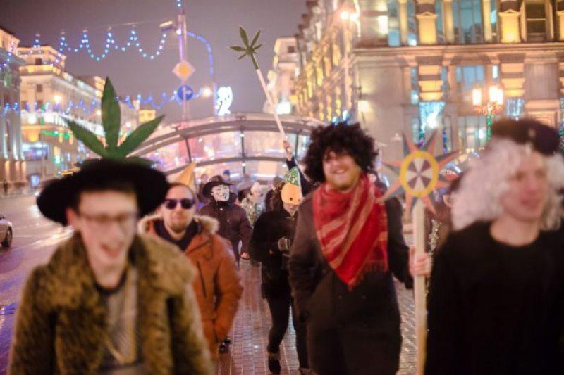 «Конопляная коляда» в Минске 25 декабря 2017 года. Фото: БелСАТ.