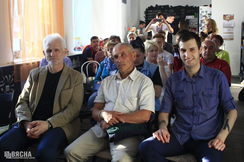 Бывшие политзаключенные Беларуси Алесь Беляцкий, Славомир Адамович и Евгений Васькович