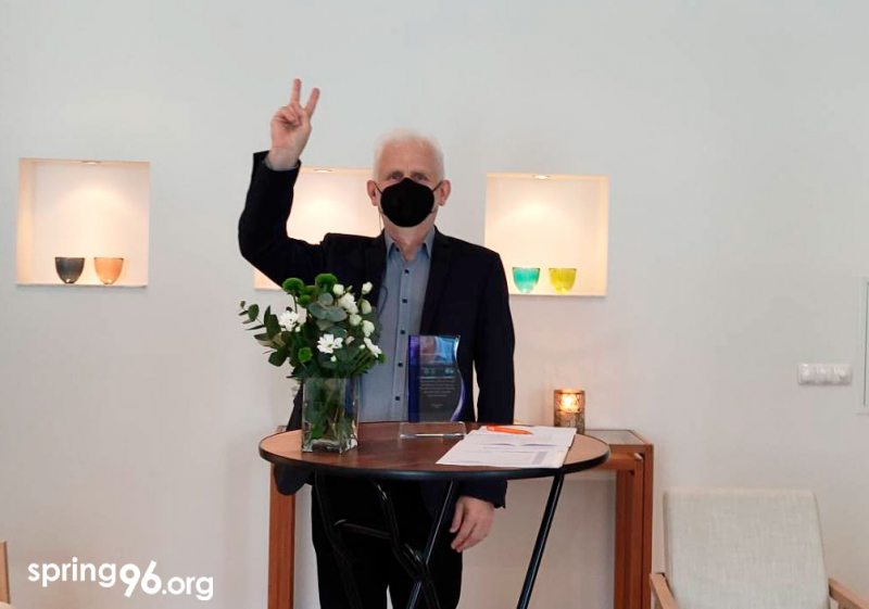 Алесь Бяляцкі пад час цырымонія ўручэння Праваабарончаму цэнтру «Вясна» прэміі АБСЭ