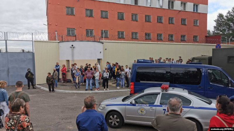 Families of detainees waiting outside the detention center in Minsk