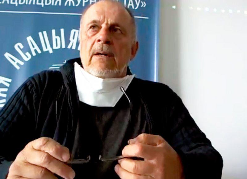 Алесь Анціпенка пад час прэзентацыі.