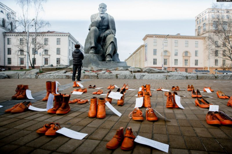 Art intervention on Yakub Kolas Square in Minsk