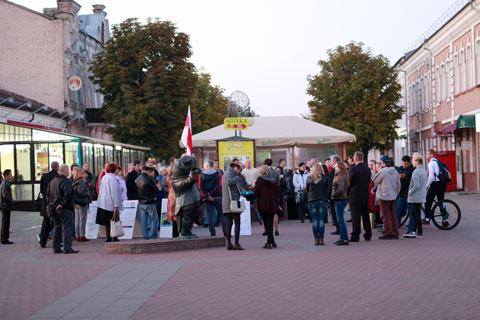 Бабруйск. Адно з агітацыйных мерапрыемстваў падчас парламенцкіх выбараў 2012 года.