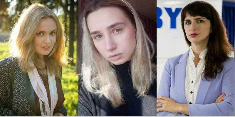 Arrested journalists (left to right): Katsiaryna Andreyeva, Darya Chultsova and Katsiaryna Barysevich