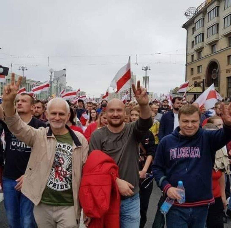Алесь Бяляцкі, Валянцін Стэфановіч і Уладзь Лабковіч. Фота з сацсетак