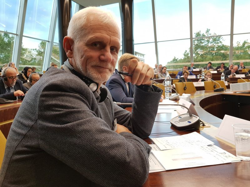 Ales Bialiatski at a hearing at PACE's Committee on Political Affairs and Democracy in Strasbourg. October 1, 2019
