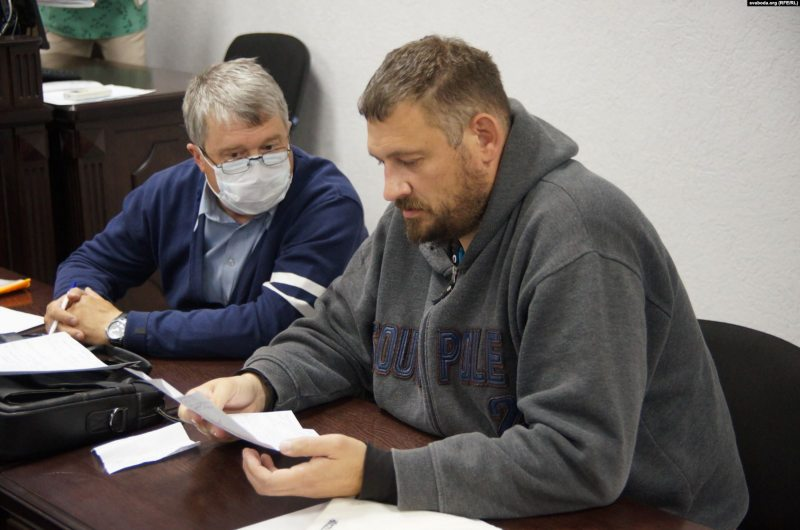 Siarhei Tsikhanouski stands trial on charges of organizing an illegal gathering. May 19, 2020. Photo: svaboda.org