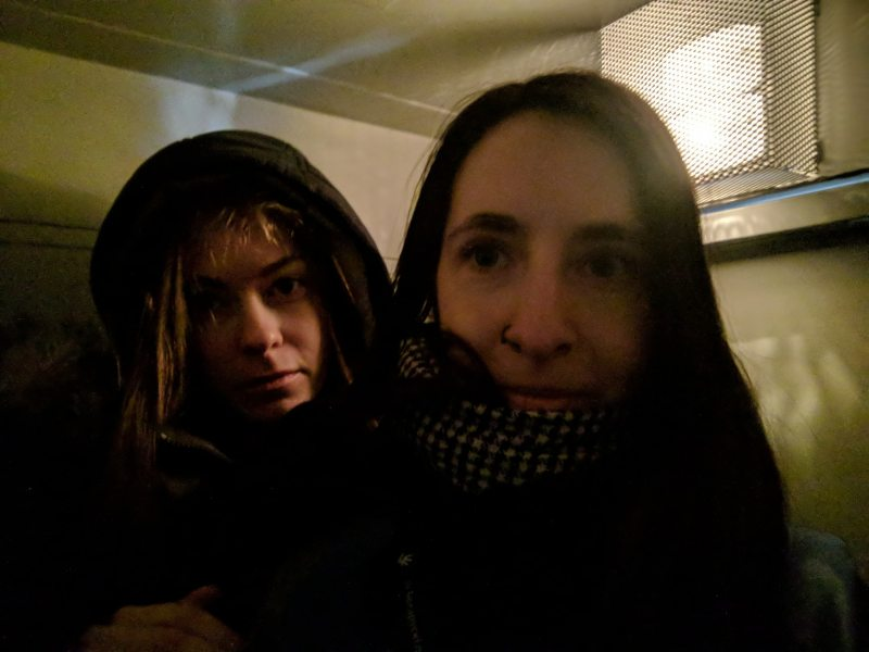 Viasna observers Tatsiana Mastykina and Nasta Loika in a police bus after being detained. March 25, 2018