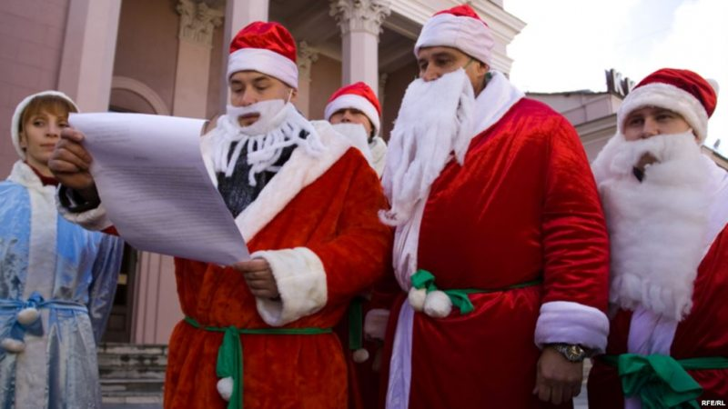 Activists wearing Santa suits during a campaign for the revocation of Article 193-1 in 2009