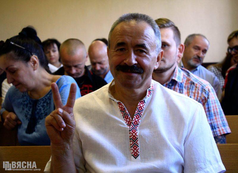REP trade union leader Henadz Fiadynich on trial in August 2019