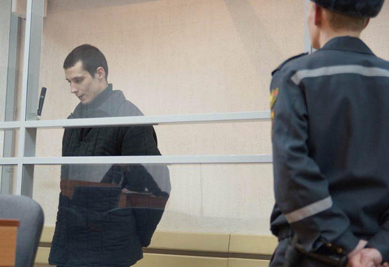 Александр Грунов на суде (фото - belapan.com)