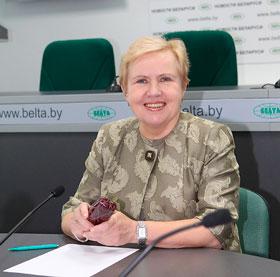 Лідзія Ярмошына падчас анлайн-канферэнцыі БЕЛТА