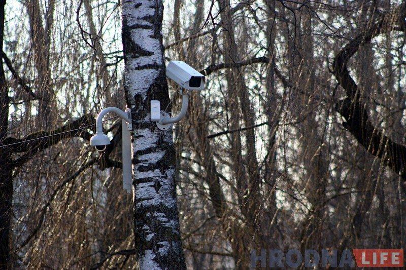 Камеры відэаназірання ў парку Жылібера. Фота: hrodna.life
