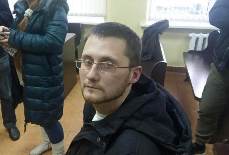 Ales Krutkin on trial. Photo: t.me/SeryiKotNews