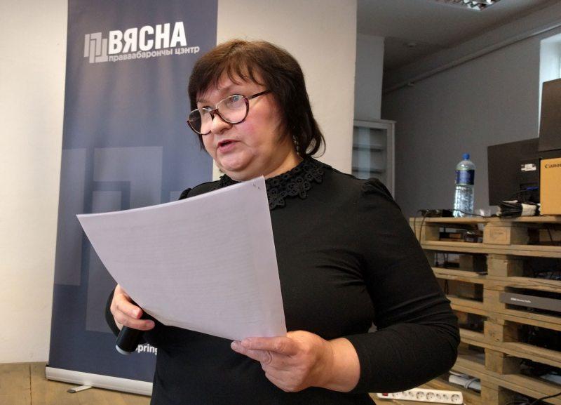 Людміла Кучура зачытвае петыцыю