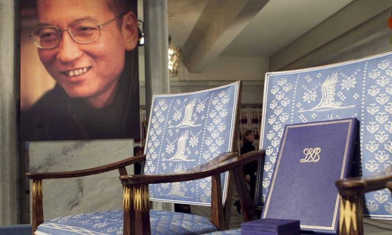 Нобелеўская узнагарода для Лю Сяабо. Осла 2010 год. Фота AFP