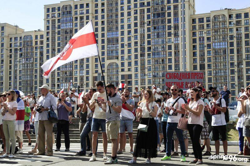 Забастовка сотрудников Белтелерадиокомпании 17 августа. Фото: spring96.org