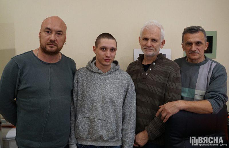 Viasna activists welcome Dzmitry Paliyenka after his release. Left to right: Valiantsin Stefanovich, Dzmitry Paliyenka, Ales Bialiatski, Siarhei Sys