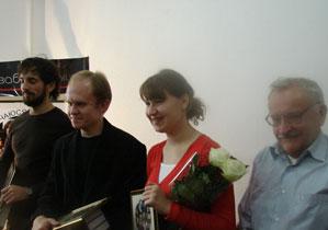 Пераможцы конкурсу Сяргей Дзядзюль, Андрэй Карэлін, Вікторыя Старасценка, Міхась Булавацкі