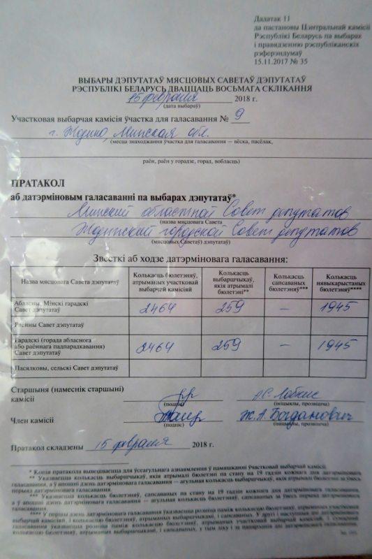 Пратакол з зБудаўнічай УВК №9 Жодзіна. Фота: Аляксея Лапіцкага.