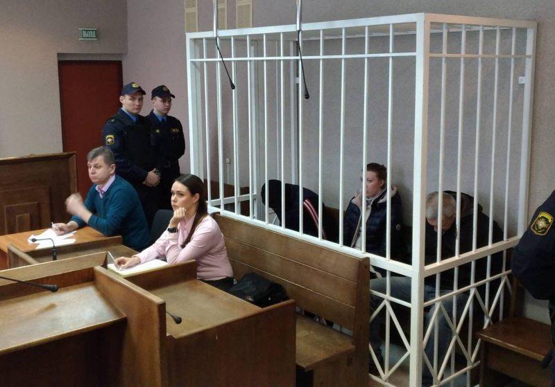 Viachaslau Sukharka, Aliaksandr Zhylnikau and Alina Shulhanava during a court hearing on 20 January 2018