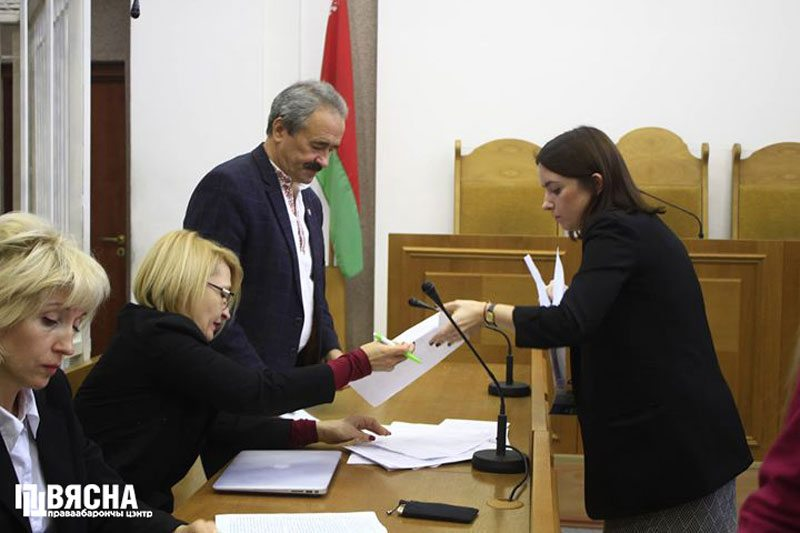 Defense lawyers Liudmila Kazak and Natallia Matskevich during the appeal hearing in REP trial. November 9, 2018