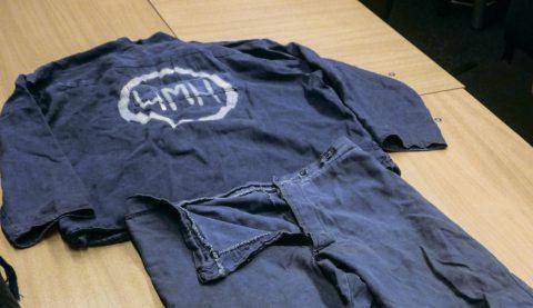 Aliaksandr Hrunou's prison clothes