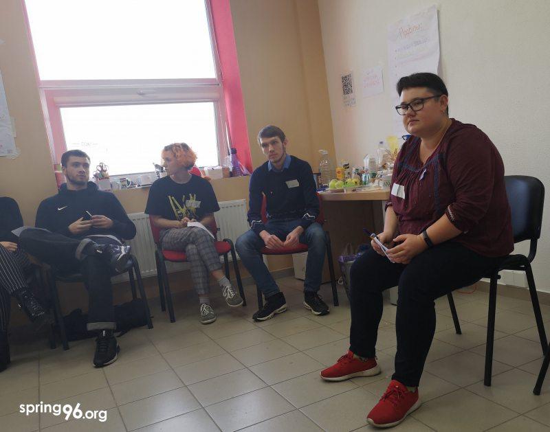 Наталля Сацункевіч на трэнінгу