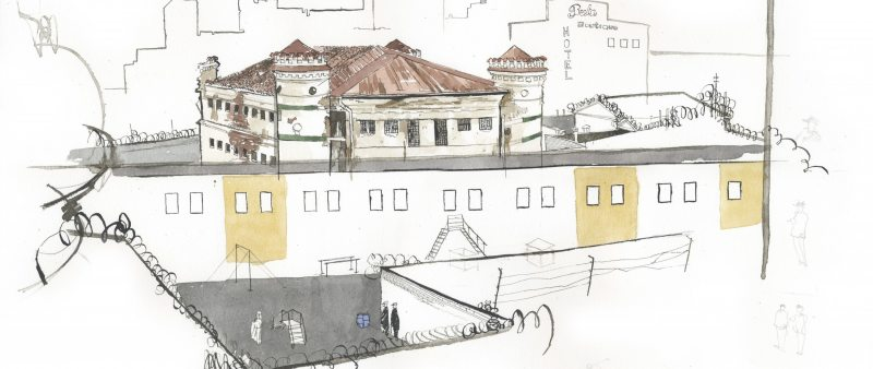 George Butler's drawing of Minsk Pretrial Detention Centre No.1, where convicts are held on death row