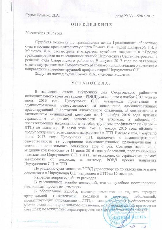 Вызначэнне абласнога суда 28 верасня 2017 г. па справе Сяргея Цыркуновіча.