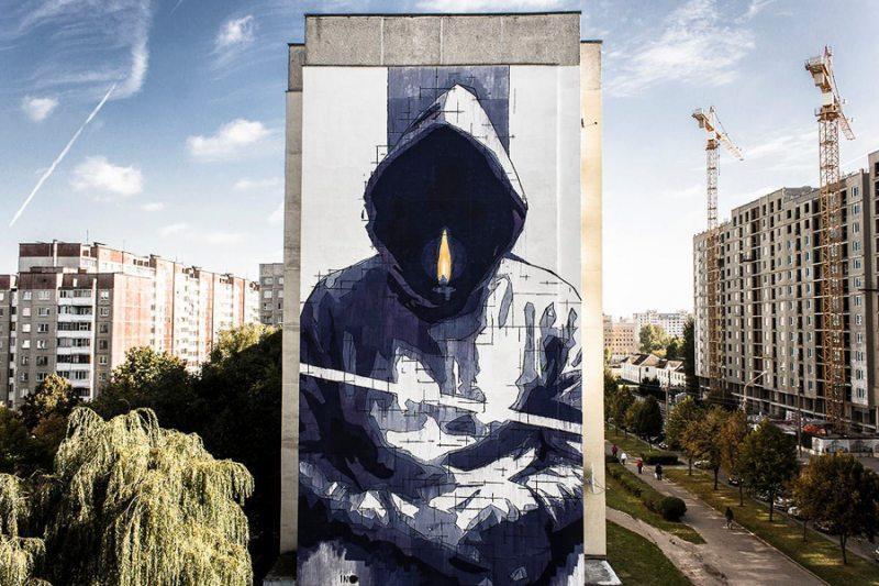 Мурал на адным з будынкаў у Мінску, які знішчылі ўлады. Фота: generation.by