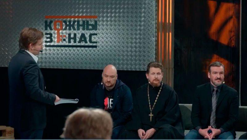 Вядучы Глеб Лабадзенка і Валянцін Стэфановіч, Яўген Грамыка, Піт Паўлаў у студыі Белсата