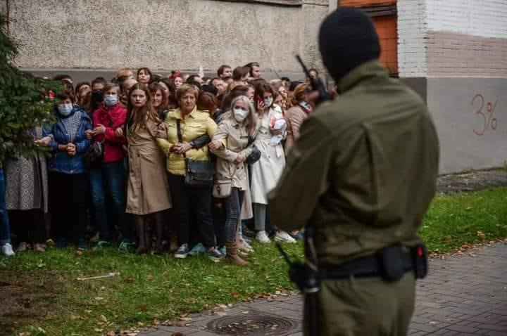 Women blocked by riot police during a protest in Minsk. September 8, 2020