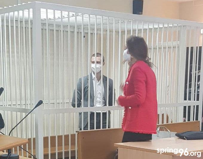 Антон Бяленскі ў судзе. Фота spring96.org