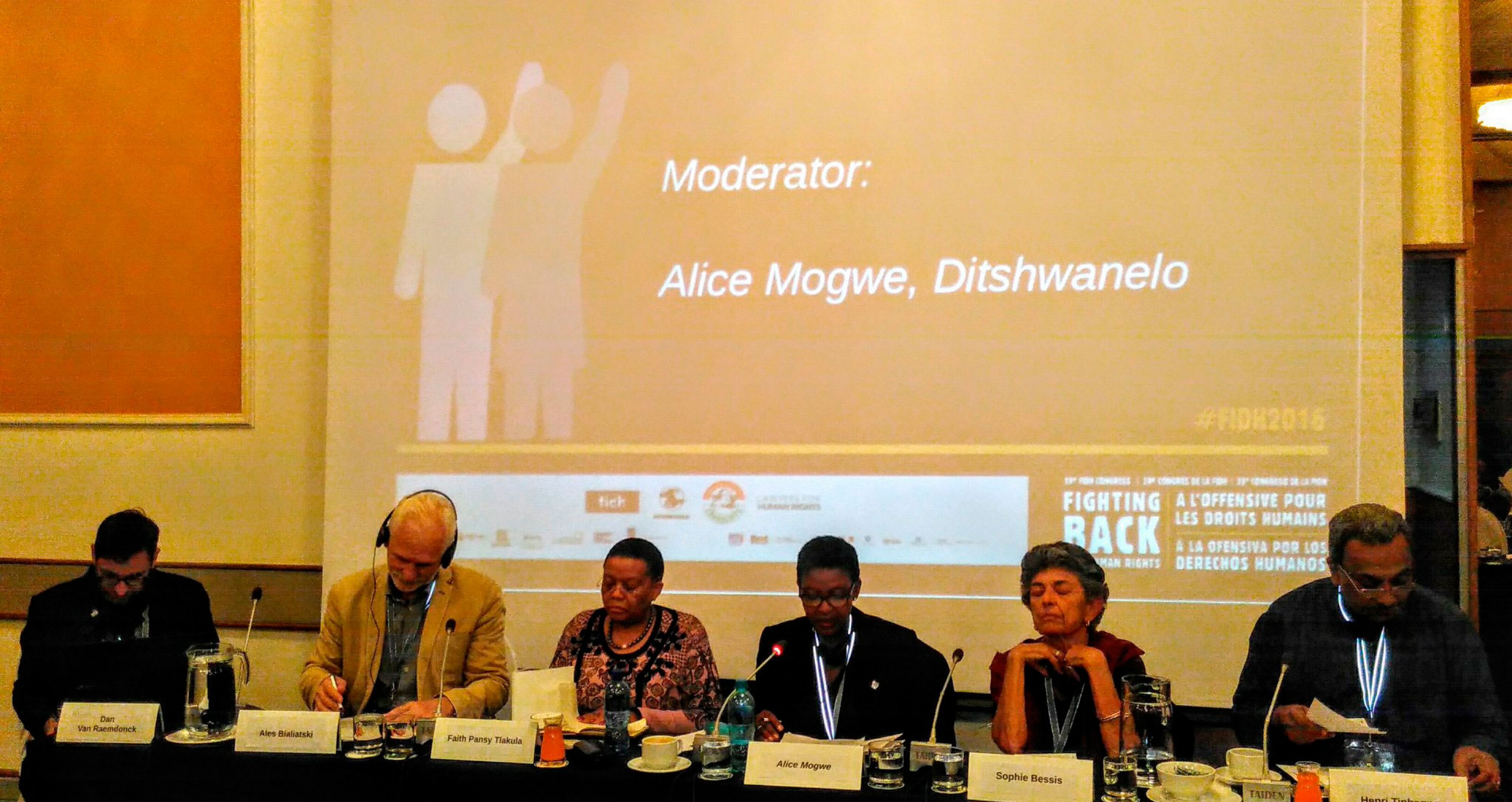 Ales Bialiatski and his colleagues at the 39th FIDH Congress in Johannesburg, South Africa. 23 August 2015