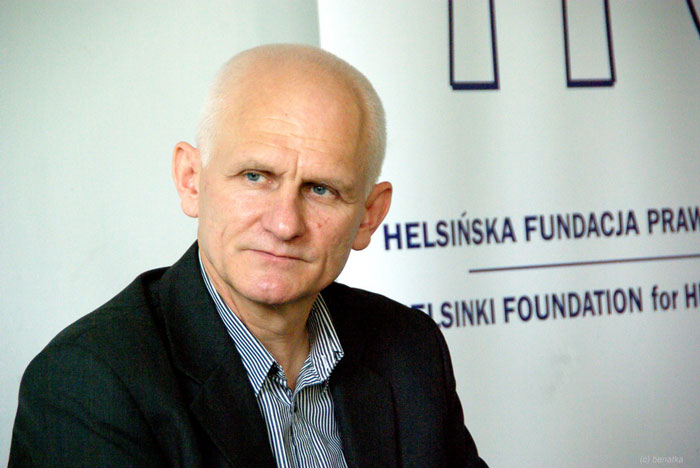 Ales Bialiatski at the open meeting in Warsaw on July 10, 2014