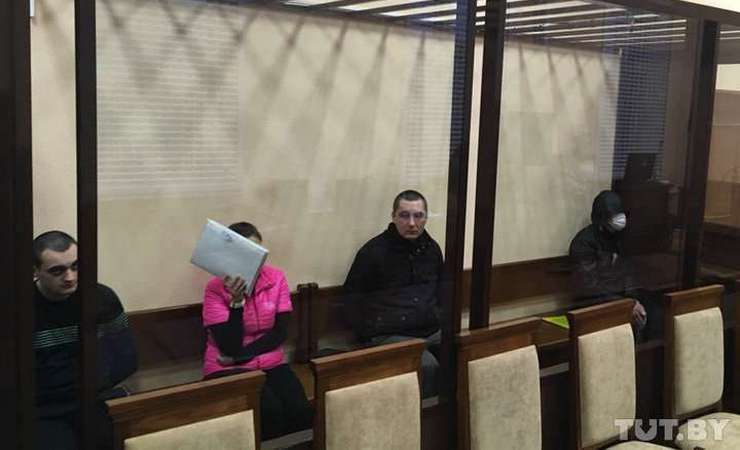 Ihar Hershankou (second right) on trial at the Supreme Court. Photo: TUT.by