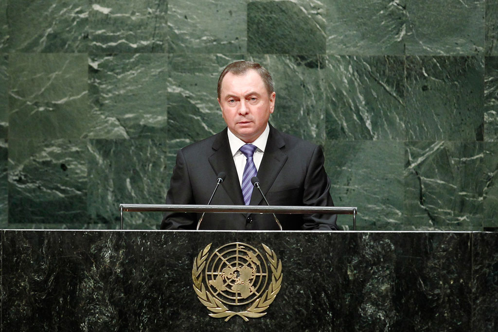 Belarusian Foreign Minister Uladzimir Makei speaking at the UN. Photo: un.org.