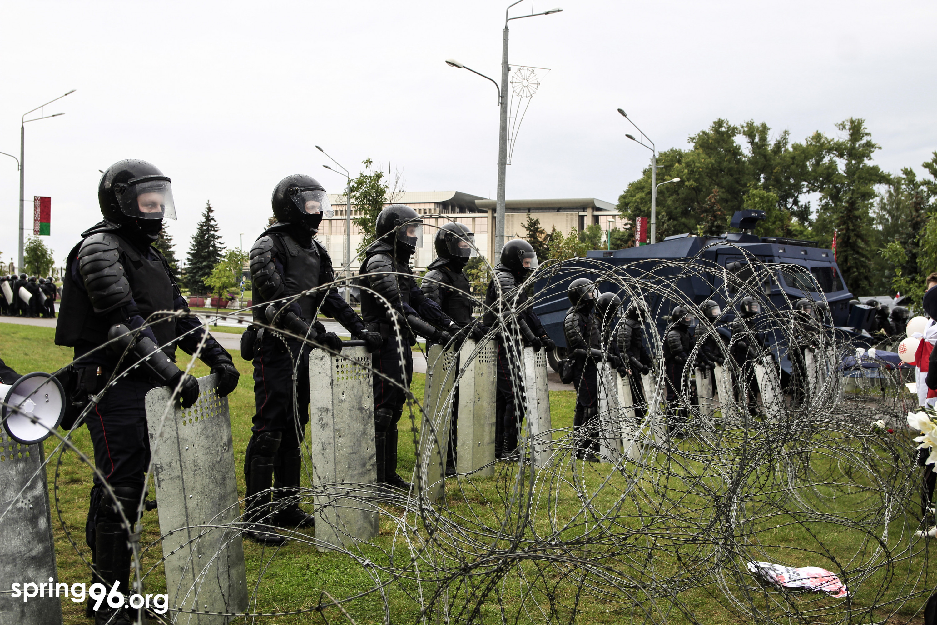 Riot police and barbed wire outside Aliaksandr Lukashenka's residence in Minsk during a peaceful protest on September 6, 2020