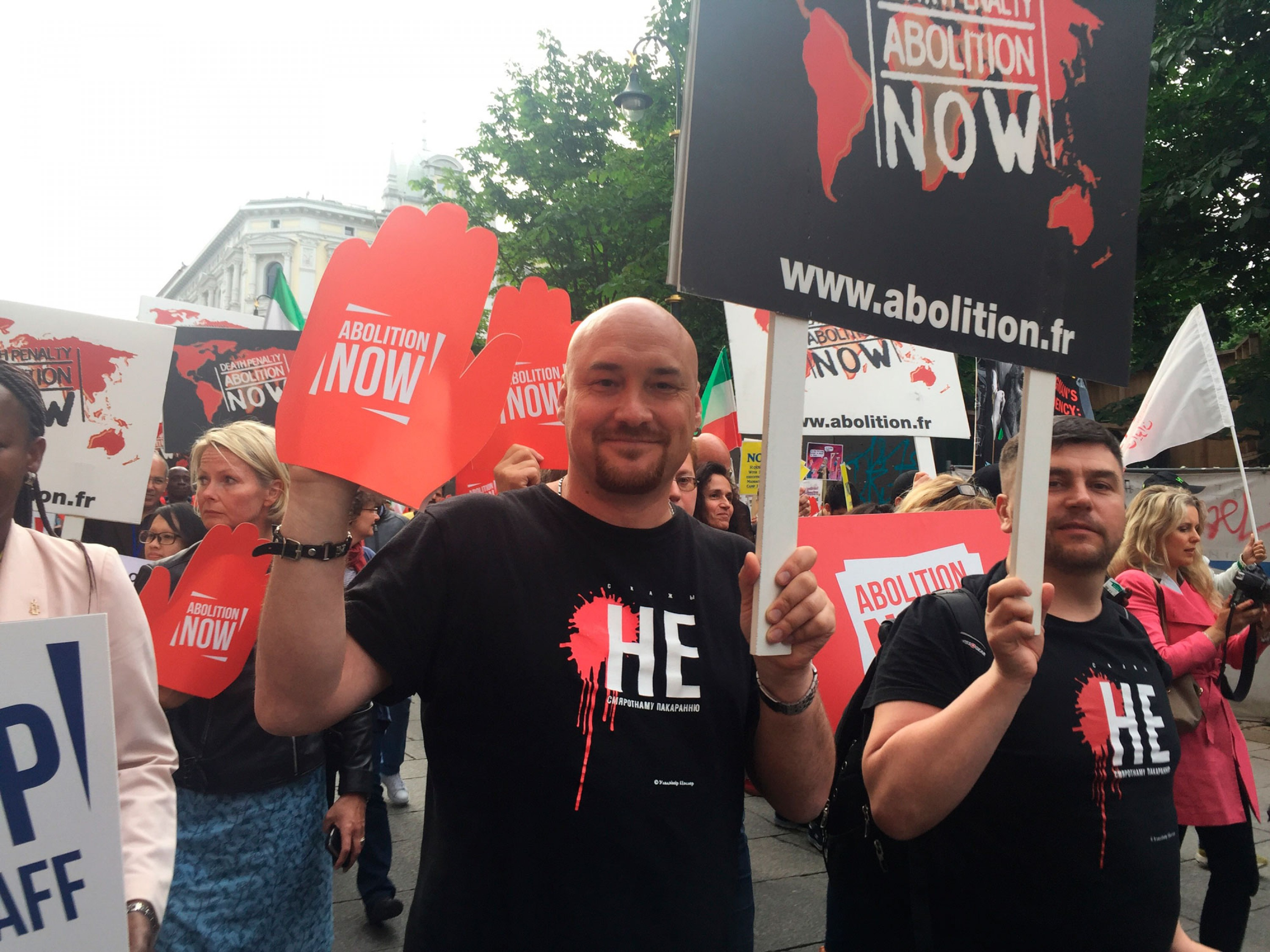 Valiantsin Stefanovich and Andrei Paluda during the March against the Death Penalty in Oslo. June 23, 2016