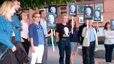 Action in support of Ales Bialiatski in Stockholm. Photo by Östgruppen.