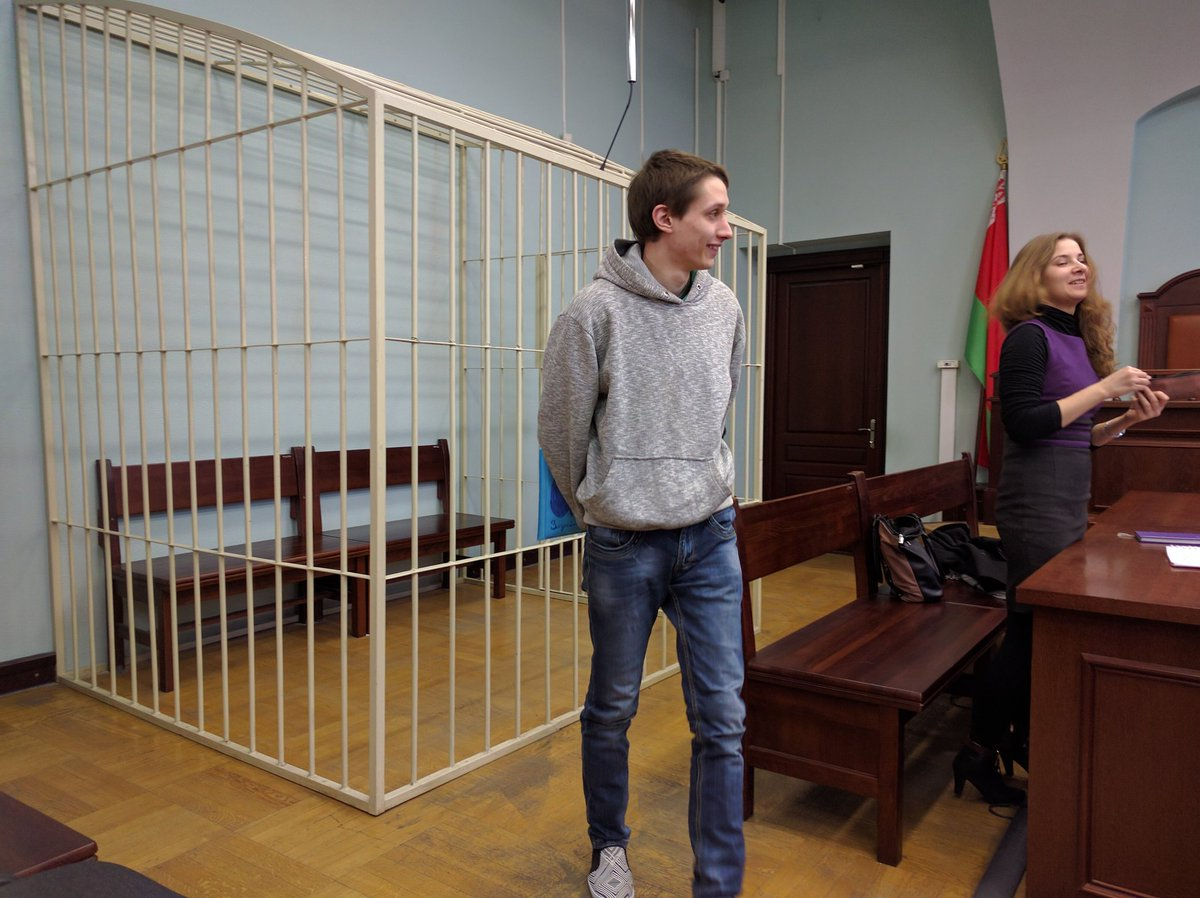 Activist Dzmitry Paliyenka released in the courtroom after the announcement of a 2-year suspended sentence. October 12, 2016.