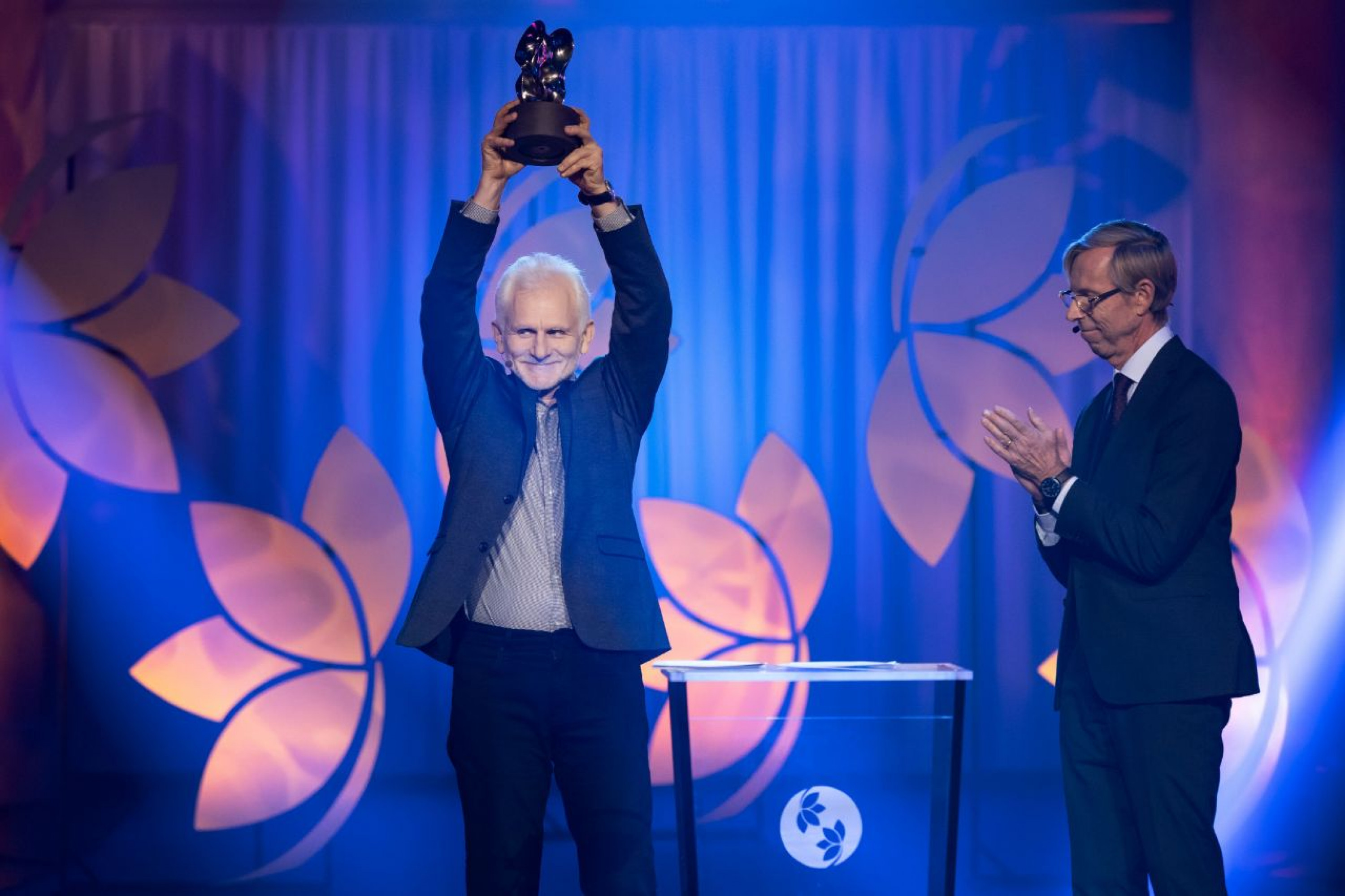 Ales Bialiatski receiving the Right Livelihood Award at a ceremony in Stockholm on December 3, 2020