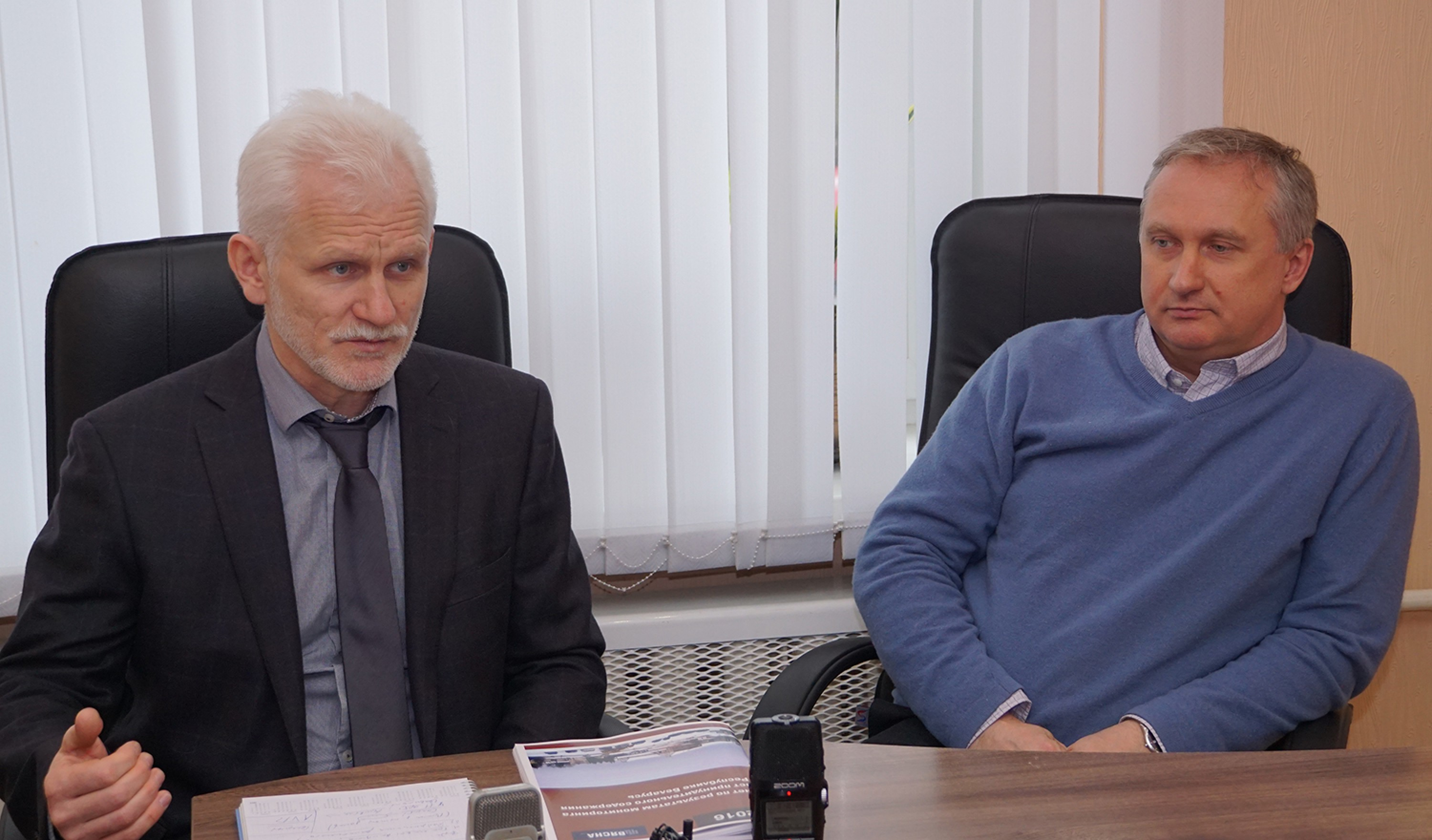 Ales Bialiatski and Pavel Sapelka during the presentation of Viasna's report on monitoring places of unfreedom. Minsk, 21 March 2017