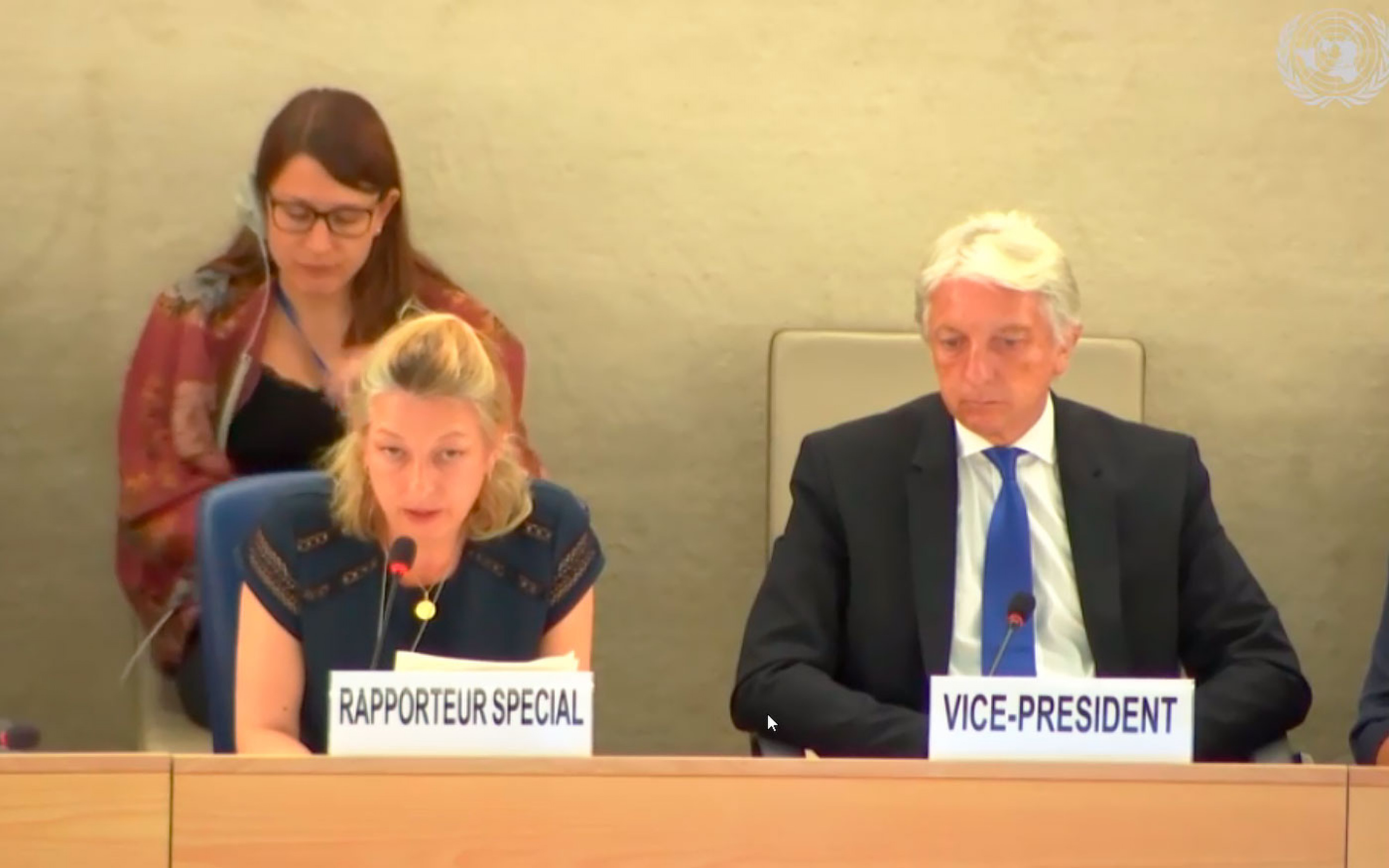 UN Special Rapporteur on Belarus Anaïs Marin during an interactive dialog at the Human Rights Council. July 2, 2019