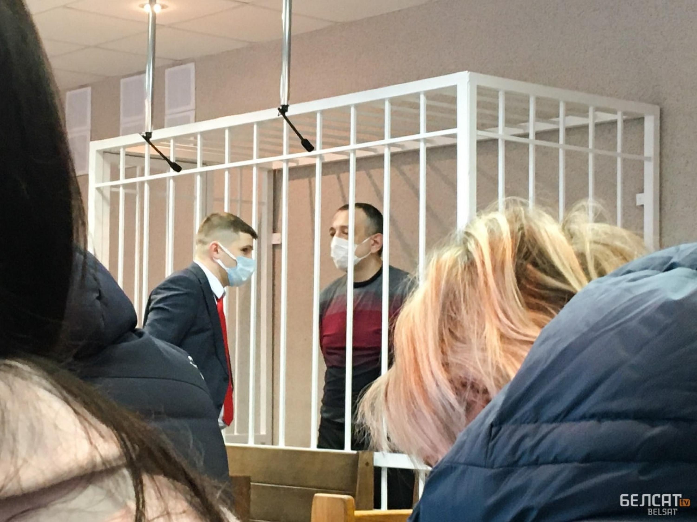 """Аляксандр Троцкі ў судзе 24 лютага. Фота: """"Белсат"""""""